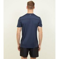 Navy Sports Stretch T-Shirt New Look