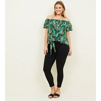 Curves Green Tropical Floral Bardot Top New Look