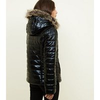 Black Wet Look Quilted Puffer Coat New Look