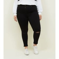 Curves Black High Waist 3 Button Ripped Jeans New Look