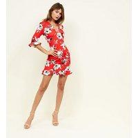 Pink-Vanilla-Red-Floral-Frill-Hem-Dress-New-Look
