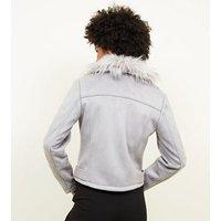 Pale Grey Suedette Faux Fur Collar Jacket New Look