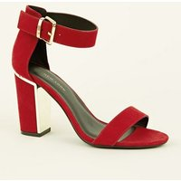 Wide Fit Red Suedette Metal Trim Block Heels New Look