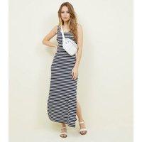 Navy Stripe Ribbed Maxi Dress New Look