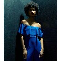 Blue Frill Bardot Culotte Jumpsuit New Look