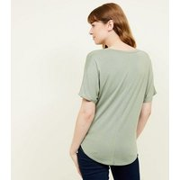 Olive Green Tie Side T-Shirt New Look