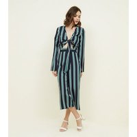Blue Vanilla Green Stripe Tie Front Top New Look