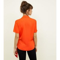 Bright Orange Wrap Front Revere Collar Blouse New Look