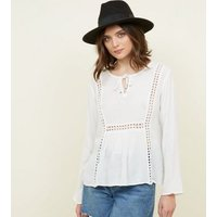 QED White Ladder Trim Tie Neck Top New Look