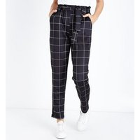 Cameo Rose Black Grid Check Paperbag Waist Trousers New Look