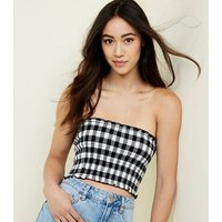 White Gingham Pattern Shirred Bandeau New Look