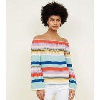 Rainbow Stripe Bell Sleeve Bardot Top New Look