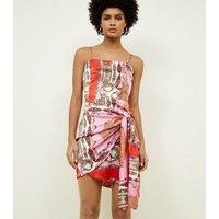 Parisian Pink Baroque Tie Side Wrap Dress New Look
