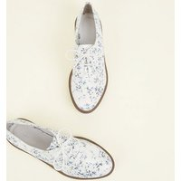 White Floral Leather-Look Lace Up Shoes New Look