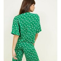 Green Ditsy Floral Boxy Shirt New Look