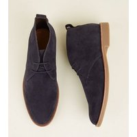 Mens Navy Faux Suede Desert Boots New Look