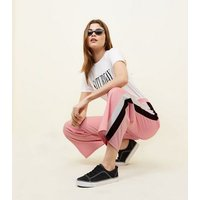 Pink Side Stripe Cropped Trousers New Look