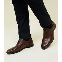 Dark Brown Perforated Lace Up Gibson Shoes New Look