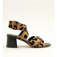 Tan Premium Suede Leopard Print Cross Strap Sandals New Look