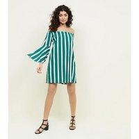 Cameo Rose Green Stripe Bardot Dress New Look