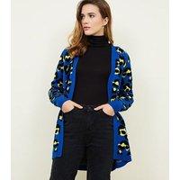Blue Vanilla Bright Blue Leopard Print Cardigan New Look