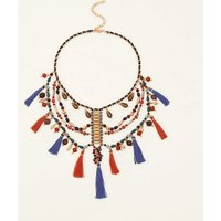 Multi Colour Bead and Tassel Necklace New Look