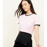 Pink Contrast Ringer T-Shirt New Look
