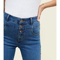 Blue High Waist 3 Button Yazmin Jeans New Look