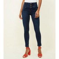Blue Rinse Wash High Waist 3 Button Yazmin Jeans New Look