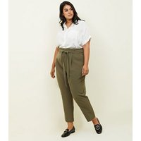 Curves Khaki Paperbag Waist Tapered Trousers New Look