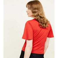 Red Flutter Sleeve Keyhole Tie Front Top New Look