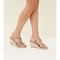 Wide Fit Brown Faux Snakeskin Strappy Wedges New Look