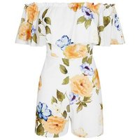 White Floral Frill Bardot Neck Playsuit New Look