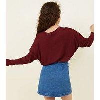Girls Burgundy Fine Knit Batwing Sleeve Top New Look