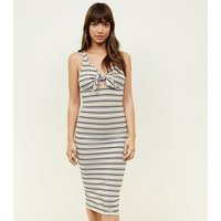 Pink Stripe Ribbed Tie Front Midi Dress New Look