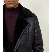 Black Faux Shearling Trim Aviator Jacket New Look