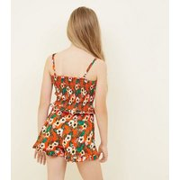 Teens Orange Floral Shirred Waist Beach Shorts New Look