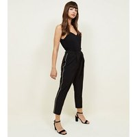 Black Side Piped Tie Waist Trousers New Look
