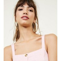 Pink Check Button Front Bralette New Look