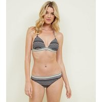 Black Aztec Glitter Elastic Halterneck Bikini Top New Look