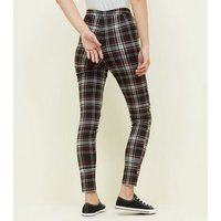 Tall Black Check Zip Pocket Skinny Trousers New Look