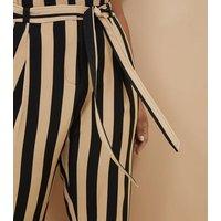Curves Black Stripe Tie Waist Trousers New Look