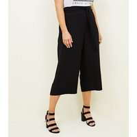 Curves Black Tie Waist Cropped Trousers New Look
