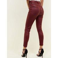 Burgundy Coated High Rise Super Skinny Dahlia Jeans New Look