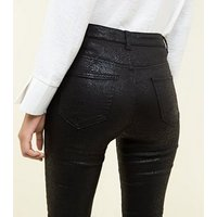 Black Faux Snake High Rise Super Skinny Dahlia Jeans New Look