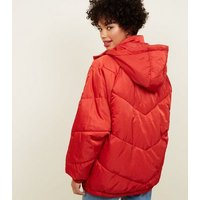 Noisy May Red Hooded Puffer Coat New Look