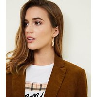 Rust Double Breasted Corduroy Blazer New Look