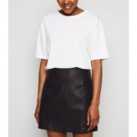 Petite Black Faux Pocket Leather-Look Mini Skirt New Look
