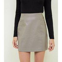Petite Mink Faux Pocket Leather-Look Mini Skirt New Look