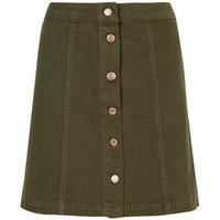 Khaki Button Front A-Line Denim Skirt New Look
